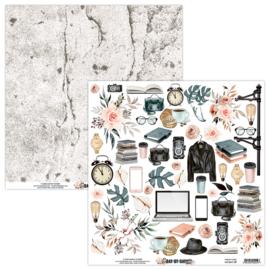 Mintay Paper - Day by Day 09 - Dubbelzijdig Elementen vel 30,5 x 30,5 cm