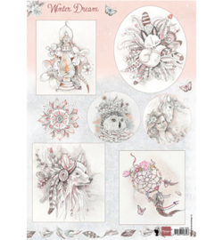 Marianne Design A4 Knipvel - Winter Dream Roze EWK1252
