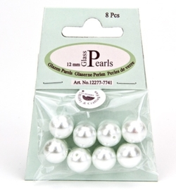 Glass Pearls Round 12 mm White