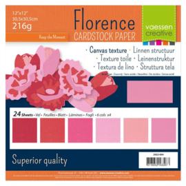 Florence - Cardstock Multipack Linnen 30,5x30,5cm - 24 vel - Roze