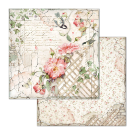 Stamperia - House of Roses - Paper - 30,5 x 30,5 cm - Fence with Little Bird