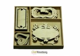 CraftEmotions Houten Ornamenten fantasie frames  811500/0205