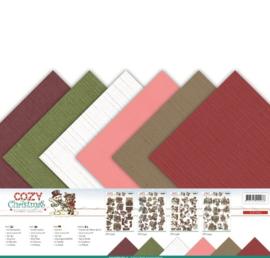 Linnenpakket - Scrap - Yvonne Creations - Cozy Christmas 30,5 x30,5 cm.