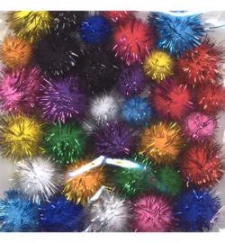 Mix Pom-Pom set - assorti glitter - 33 stuks
