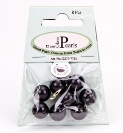 Glass Pearls Round 12 mm Black