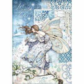Stamperia - Winter Tales - Rice Paper - A4  Fairy in the Wind