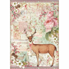 Stamperia - Pink Christmas - Rice Paper - A4 - Christmas Deer