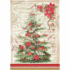 Stamperia - Classic Christmas - Rice Paper - A4 Greetings Tree