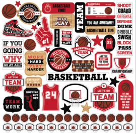 Echo Park - Basketball Stickervel - 30,5 x 30,5 cm.