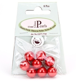 Glass Pearls Round 12 mm Red