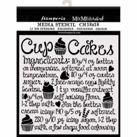 Stamperia Thick Stencil - 18x18cm - Cupcake
