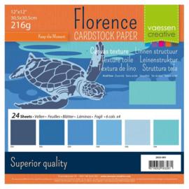 Florence - Cardstock Multipack Linnen 30,5x30,5cm - 24 vel - Blauw
