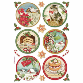 Stamperia - Classic Christmas - Rice Paper - A4 Happy Christmas Round