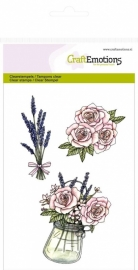 High Tea Rose Clear Stamp Pot met rozen en lavendel 130501/1063