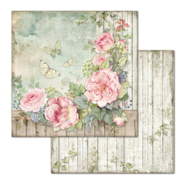 Stamperia - House of Roses - Paper - 30,5 x 30,5 cm - Fence with Roses