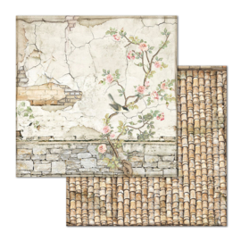 Stamperia - House of Roses - Paper - 30,5 x 30,5 cm - Small Bricks with Tree