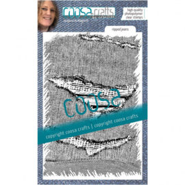 COOSA Crafts • Clear Stempel A6 Love my jeans - Ripped jeans
