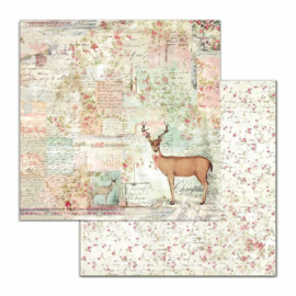 Stamperia - Pink Christmas - Paper - 30,5 x 30,5 cm  - Deer