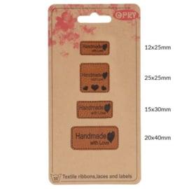 Labels handmade with love - 4 stuks