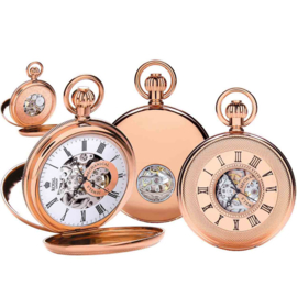 Royal London Skelet Half Hunter Open Heart Rose Goud 51mm