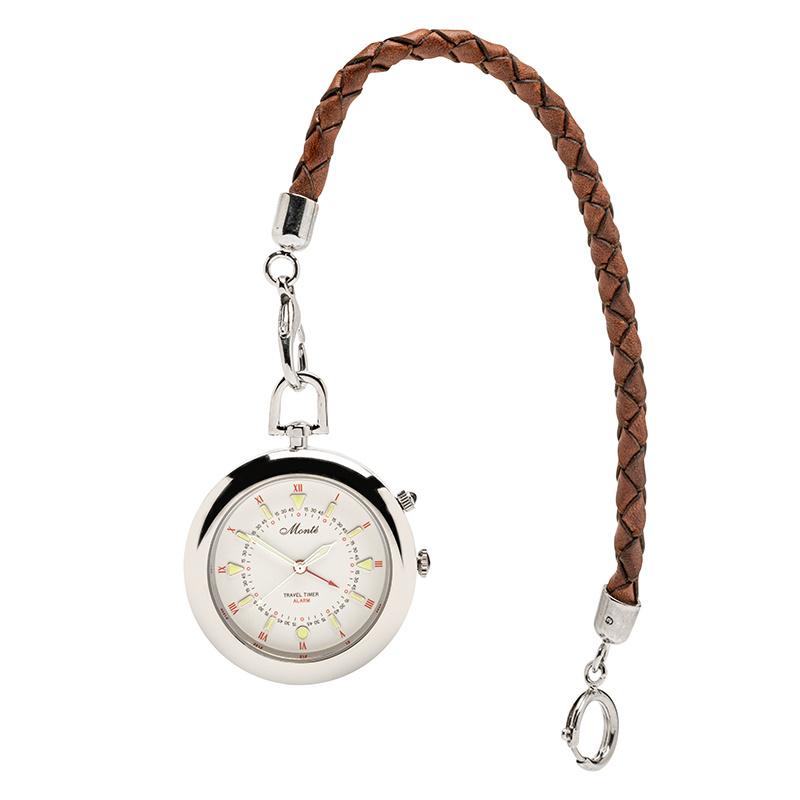 Monté Zakhorloge met Alarm aan Lederen Ketting Wit 42 mm