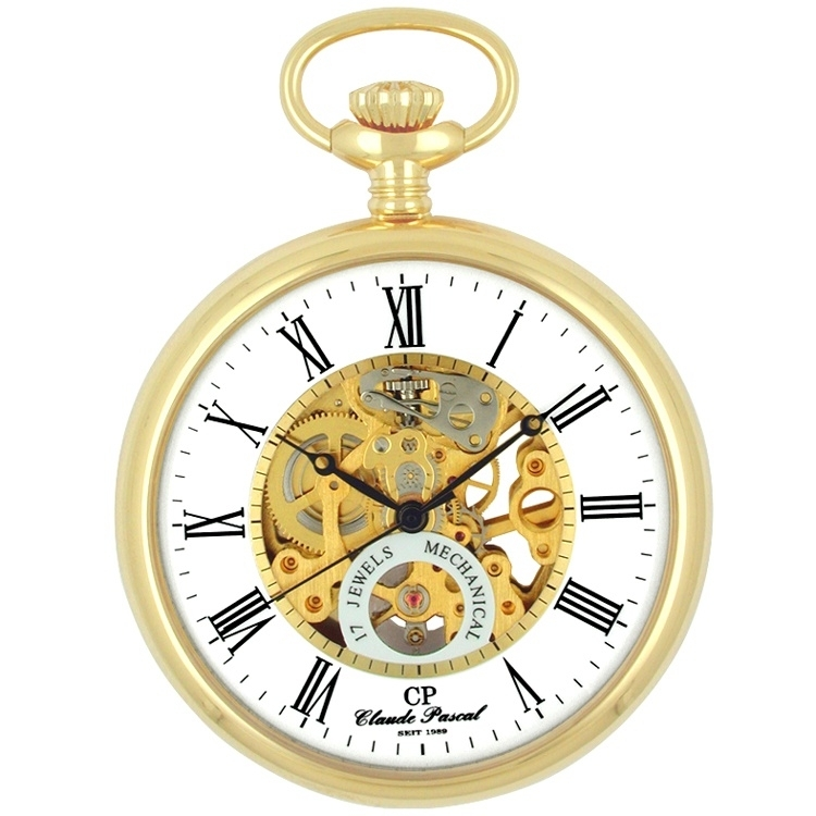 Claude Pascal Open Heart Skelet Zakhorloge Goud 50 mm