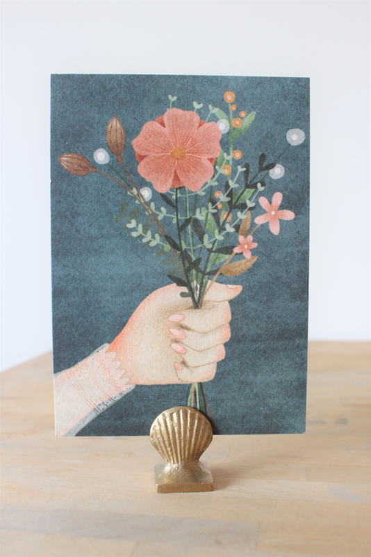 Post card Hand with flowers