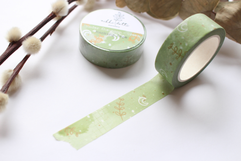 Washi tape - Under the moon Green