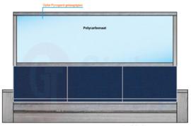 Dubbele steigerhouten bank met spat-bescherming tussen de banken in (Flame Resistant mogelijk)