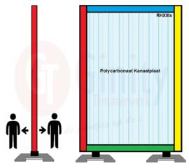 Spat-werkscherm uitvoering ( gekleurd) hout/ Polycarbonaat Kanaalplaat