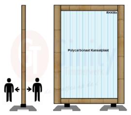 Spat-werkscherm uitvoering Bamboo/ Polycarbonaat Kanaalplaat