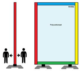 Spat-werkscherm uitvoering ( gekleurd) hout/ Polycarbonaat