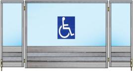 Spat-scherm met 2 zijkanten wegdraaibaar (rolstoel toegankelijk) (Flame Resistant mogelijk) .