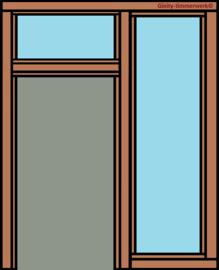 Deurkozijn met glasstrook rechts en bovenlicht