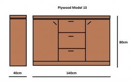Plywood Dressoir gemaakt van 18mm dik Light Brown betonplex ***Model 13
