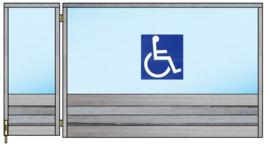 Spat-scherm met 1 zijkant wegdraaibaar (rolstoel toegankelijk) (Flame Resistant mogelijk)