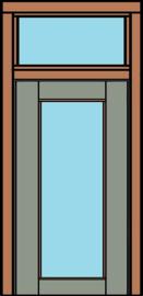 Deurkozijn met deur en bovenlicht