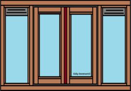Raamkozijn dubbel raam en links rechts vast glas