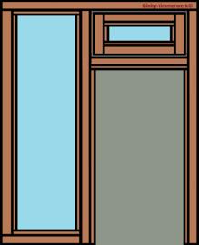 Deurkozijn met glasstrook links en bovenraam