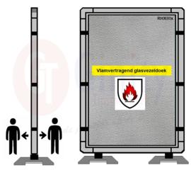 Spat-werkscherm uitvoering Aluminium/Vlamvertragend glasvezeldoek