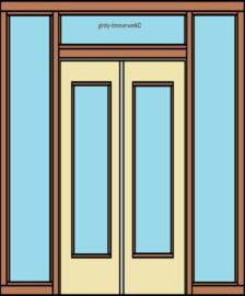 Kozijn met  openslaande deuren