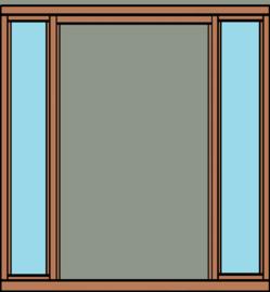 Deurkozijn  met glasstroken voor 2 openslaande deuren