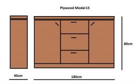 Plywood Dressoir gemaakt van 18mm dik Light Brown betonplex ***Model 15