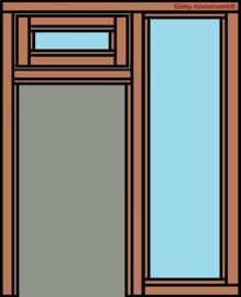 Deurkozijn met glasstrook rechts en bovenraam