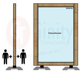 Spat-werkscherm uitvoering Bamboo/ Polycarbonaat plaat