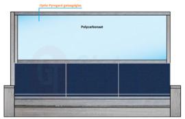 Dubbele steigerhouten bank met spat-bescherming tussen de banken in en keuze linker of rechterkant (Flame Resistant mogelijk)