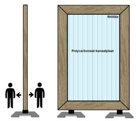 Spat-werkscherm uitvoering hout/ Polycarbonaat Kanaalplaat