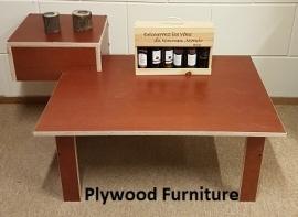 Plywood salontafel met verhoging gemaakt van 18mm dik Light Brown betonplex ***Model 20