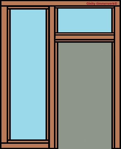 Deurkozijn met glas strooklinks en bovenlicht