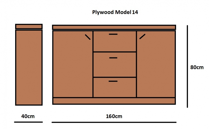 Plywood Dressoir gemaakt van 18mm dik Light Brown betonplex ***Model 14